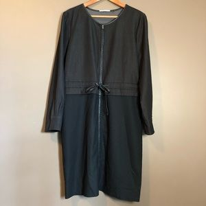T.Tahari  zip up dress with faux leather trim